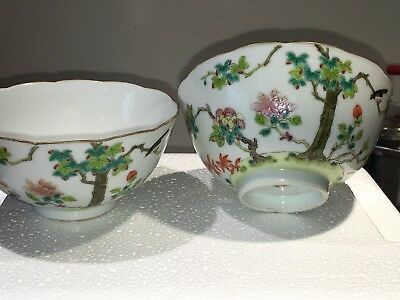 Pr Chinese Famille Rose Porcelain Bowls Daoguang Peach Mark