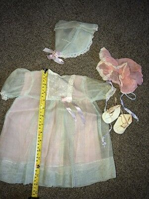 Antique Baby Girl Dress Baby Doll With Bonnets Shoes