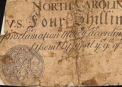 Rare March 9, 1754 Monogram Emblem Note North Carolina Colonial Currency Money