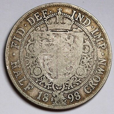 1898 UK Great Britain Halfcrown KM# 782 Sterling Silver Coin Rare