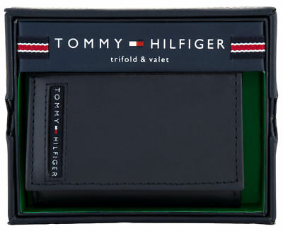 Mens Tommy Hilfiger Navy Cambridge Passcase Trifold Wallet Genuine Leather Boxed