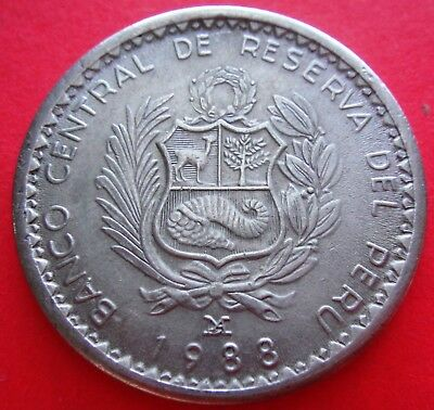 1988 PERU 5 Cinco Intis Coin - Miguel Grau Collectors Item Nice Condition