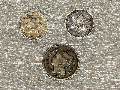 1852 - 1862 and 1866 Three Cent ,  nice  silver coins