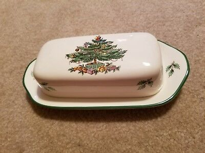 SPODE•Christmas Tree•Covered Butter Dish•NWOB•Rare