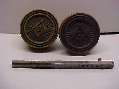 Pair Of Vintage HEAVY Brass MASONIC Fraternal Symbol Door Knobs & Hardware