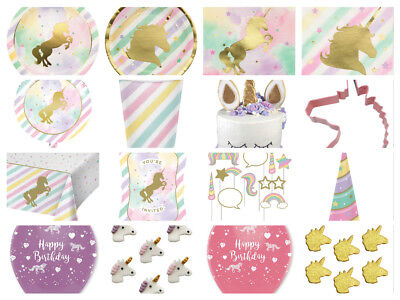 Unicorn Sparkle Birthday Party Cups Plates Napkins Invites Loot Bags Balloons