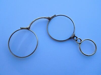 Extremely Rare Georgian Victorian 15K Gold Crystals C.W. DIXEY Lorgnette Specs !