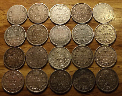 1871 - 1919 Canada 5 Cent Silver Coin Collection  20 Different with Better Dates