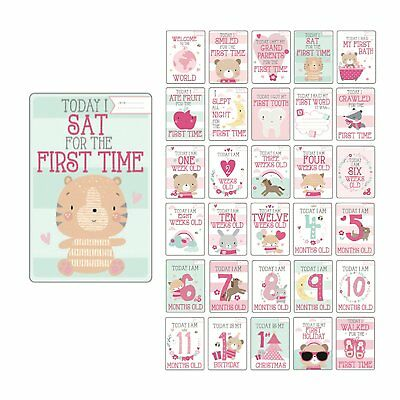 30 Baby Girls Memorable Moments Milestone Cards Photoprops Shower Gift Keepsake