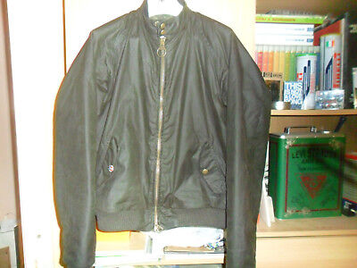 Barbour Steve Mcqueen Merchant Waxed Bomber Jacket Olive Green Xl