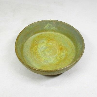 F930: Korean old Goryeo celadon porcelain small plate with appropriate inlay