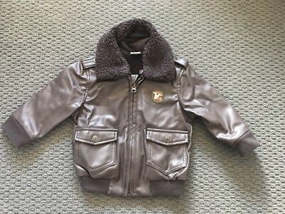 Cute Baby Aviator Pilots (fake) Leather Jacket Size 1