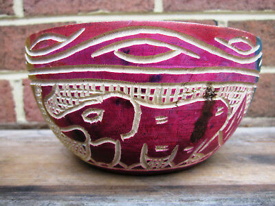 Hand Carved Wood Bowl Ghana Africa Tribal Art