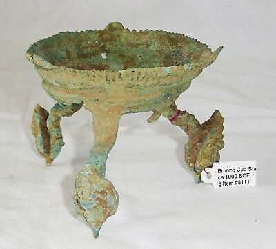 1000BC Cambodian Khmer Bronze Conch-Form Libation Cup Stand ONLY (Mil)