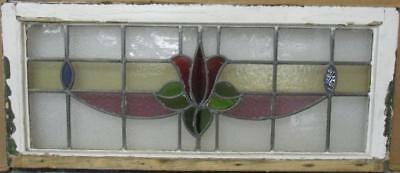 "LARGE OLD ENGLISH LEADED STAINED GLASS WINDOW Gorgeous Floral 34.5"" x 15.25"""