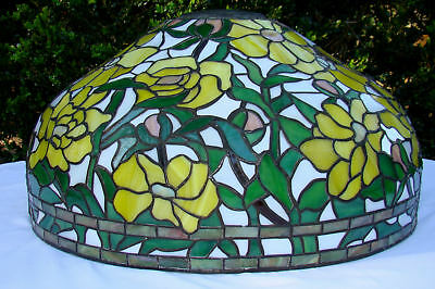 "HUGE 24"" Stained Leaded GLASS Lamp Light Shade ARTS & CRAFTS Floor TIFFANY Style"