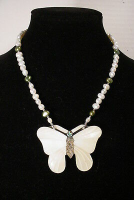 Vintage Signed Lee Sands Butterfly Necklace Inlaid Mother of Pearl Real Pearls