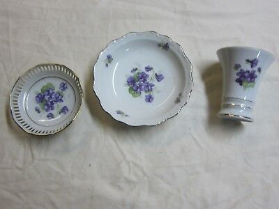 Schumann Bavaria Germany Two Bowls And One Vase Violette