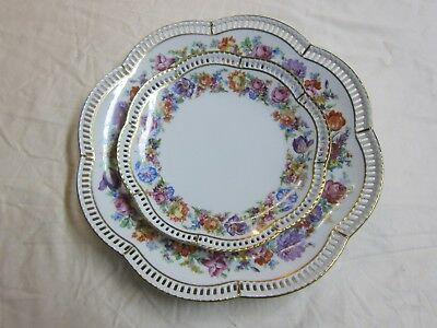 Schumann Bavaria Roses And Flowers Plates-Two