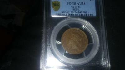 1891 Canada Victoria SDSL Small Date Small Leaves Obv 3 One Cent Coin PCGS AU58