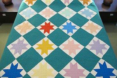 OUTSTANDING QUILTING: Vintage Hand Sewn All Cotton AUNT ELIZA'S STAR Quilt Good!