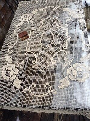 Antique Handmade French 1930's Filet Lace Panel Tablecloth Curtain
