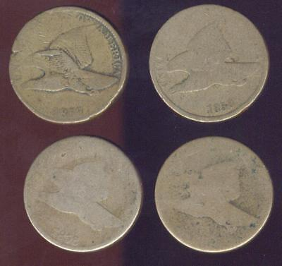 4 Worn or Cull Pre Civil War Flying Eagle Cents 1857-1858 Free USA Ship.
