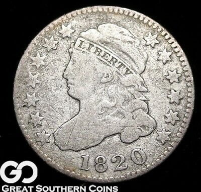 1820 Capped Bust Dime, Tough Early Silver Type!