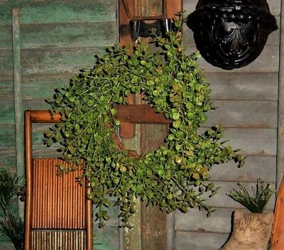 """Primitive 9"""" Green Pepper Grass Artificial Plant Fake Foliage Wreath Floral Ring"""