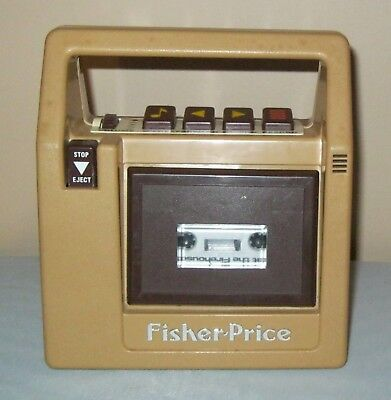 Vintage 1980s Fisher Price #826 Brown Portable Cassette Tape Recorder Player Exc