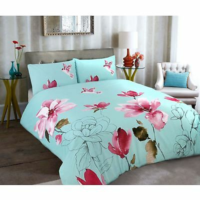 Duvet Cover With Pillow Cases Quilt Bedding Stella Duck Egg All Sizes