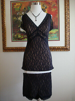 Flexees Women's Black Lace Cami and Boy Short Size L Never Worn!!!