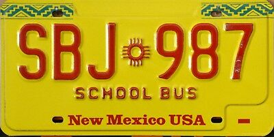 USA Number Licence Plate NEW MEXICO SCHOOL BUS