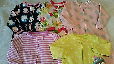 Girl Carter's 18 M Fleece Footed Sleeper Pajama Clothes Lot Free Shipping!