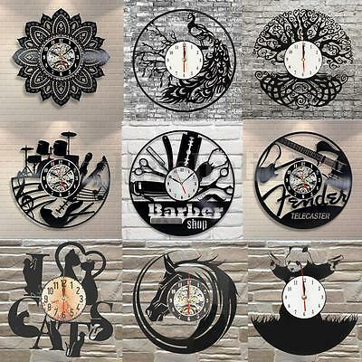 Handmade Music Vinyl Record Clock Owl Cat Bedroom Playroom Home Decor Gift UK
