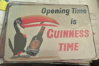 opening time is guinness time tin metal sign MAN CAVE 30 by 20 cm