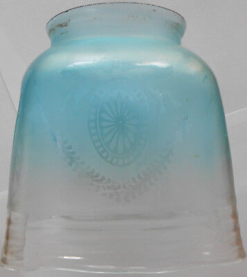 Early 20th Century Frosted Blue Glass Gas or Oil Lampshade.
