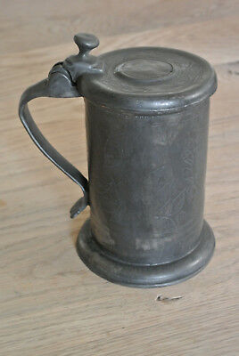 Vintage Continental Pewter lidded tankard Wriggle work decoration