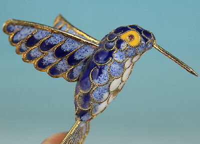 Fine Chinese cloisonne copper hummingbird Carved Statue
