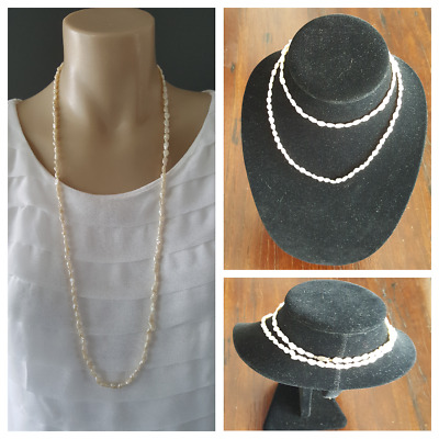 VINTAGE RICE PEARL Long Necklace Containing 103 Vintage Rice Pearls
