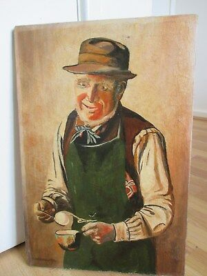 Antique Oil Painting on Canvas of Old Gentleman with Cup Of Tea - C Spencelayh
