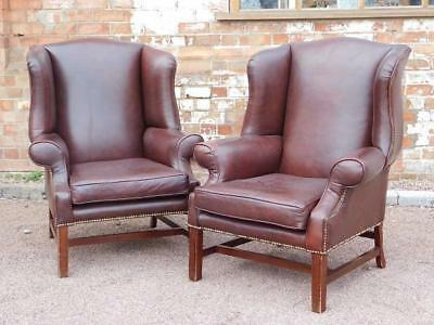 A Stunning Pair Of Vintage Brown Leather Club Armchairs Chairs