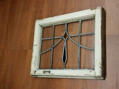 Antique Stained Glass Window ~ Blue / Orange / Clear~  We Ship!