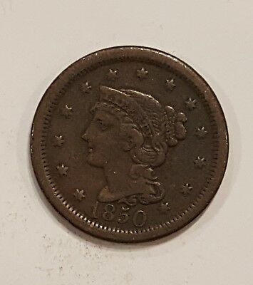 1850 Braided Hair , Large Cent,  US Penny - No Reserve - starting at $0.01 D