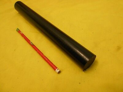 "SIMONA BLACK PVC CAW ROD machinable plastic round bar stock 1 3/8"" OD x 12"" OAL"