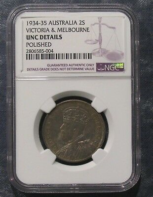 1934-35 Australia Victoria & Melbourne Florin 2S NGC Uncirculated Polished - NR