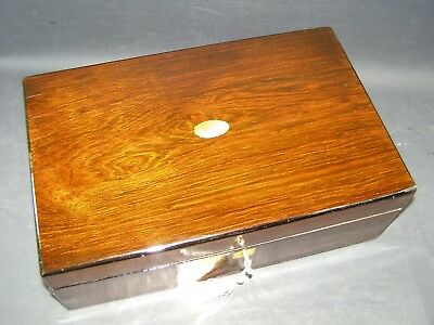 Lge Antique Rosewood Document Box Working Lock & Key 1870 Mother Of Pearl Center