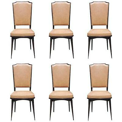 Set Of Six French Art Deco Solid Mahogany Dining Chairs 1940s Vintage AS IS