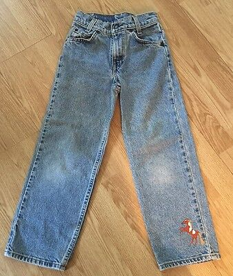 LEVIS 505 Kids Light Blue Faded Jeans Hand Painted pony rodeo motif Slim 8