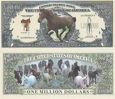 Two Wild Horse Hold Your Horses Novelty Currency Bills # 044